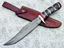 "Authentic HANDMADE DAMASCUS 13.5"" HUNTING KNIFE WITH CAMEL BONE HANDLE - UT-4166"