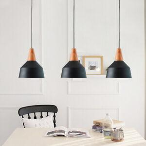 3X Black Pendant Light Room Lamp Wood Ceiling Lights Kitchen Chandelier Lighting