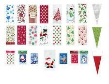 Christmas Cello Bags cellophane Favour Treat Xmas Stocking Sweet Gift Bags