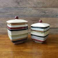 Set of 2 Tabletops Unlimited Jentry Square Striped Small & Medium Canisters