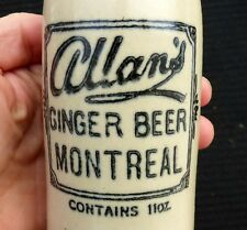 Antique Montreal, Quebec 'ALLAN'S' stone ginger beer bottle FREE SHIPPING!