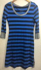 Patagonia Women's Blue/Black Organic Cotton Tencel Striped 3/4 Sleeve Dress Sz S