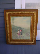 """""""ADOLF SEHRING"""" GOING FISHING"""" ANTIQUE OAK PICTURE FRAME"""". AND VINTAGE PRINT""""."""