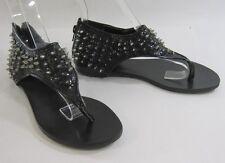 Summer Black Spike Womens Shoes Roman Gladiator Flat Sandals Size 6.5