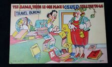"VTG Linen Funny Comic Postcard ""YES MADAM, THERE IS ONE PLACE I COULD TELL TO GO"