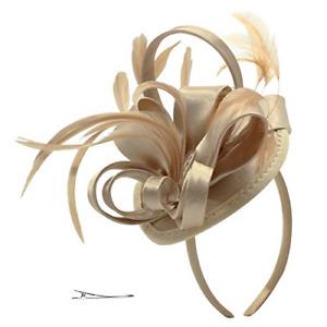 FELIZHOUSE Fascinator Hats Feather Satin Kentucky Derby Tea Party Hat Wedding...