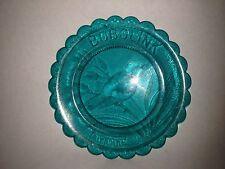 "PAIRPOINT GLASS COMPANY AQUA BLUE GREEN 3 1/2"" CUT GLASS PLATE BOBOLINK"