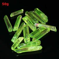 POWERFUL Titanium Green AURA Lemurian Seed Quartz Crystal Point 50g 10+pcs US