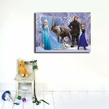 Disney Frozen Stretched Canvas Print Kids Wall Art Framed Anna Elsa Kristoff 70×95×3cm