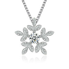 """Sterling Silver Cubic Zirconia Snowflake Pendant Necklace, 925 Chain 18"""""""