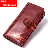 Women Genuine Leather Long Wallet RFID Blocking Bifold Card Holder Clutch Purse