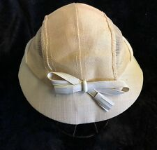 Early 50's Linen and Mesh Ladies Cap with Vinyl Bow