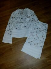 White / Pink Floral Cotton Skirt Suit - The Barn - Size 42 (16) - BNWT - Wedding
