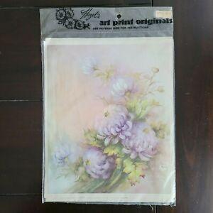 Vintage Hazel's Art Print Originals Decoupage Art Transfer Chrysanthemums Sealed