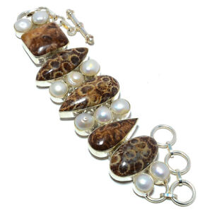 """Fossil Coral & Pearl 925 Sterling Silver Ethnic Bracelet 7.5-7.99"""" M1456"""