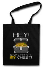 HEY STOP STARING AT MY CHEST STOFFTASCHE Ninja Looter Fun RPG MMORPG Gamer