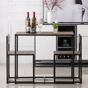 Modern Table 2 Chairs Breakfast Bar Kitchen Dining Room 3 Piece Furniture Set