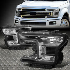 FOR 18-20 FORD F150 BLACK HOUSING CLEAR CORNER HEADLIGHT REPLACEMENT HEAD LAMPS