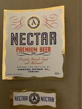 Vintage Nectar Premium Beer And Neck Label Ambrosia Brewing Co Chicago Irtp