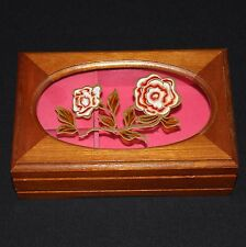 VTG Mele Wooden Rose Painted Glass Top Hinged Rectangle Lined Music Jewelry Box