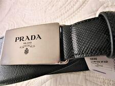 PRADA Logo Paque Black Leather Belt Sz 36 BN