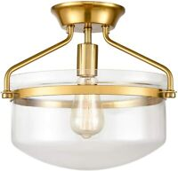 """Modern Mid-Century Gold Clear Glass Ceiling Lights Brass 14"""" Wide"""