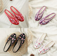 Womens Chinese Embroidered Flat Shoes Slippers Casual Comfort Floral Cloth Shoes