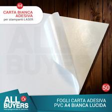 50 FOGLI A4 ADESIVA VINILE BIANCA LUCIDA POLIPOPRILENE X STAMPANTE LASER PVC