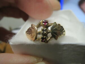 BLACK HILL GOLD RING 10k, SIZE 7,  WITH A SMALL DIAMOND AND A SMALL RUBY