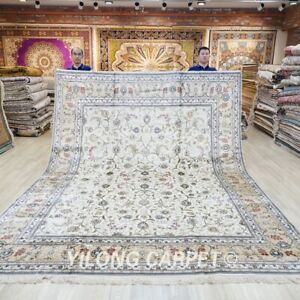 Handcraft Large Silk Carpet 9x12ft Geometric White Hand Knotted Area Rug 021C