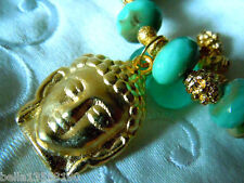 24 Karat vergoldeter Buddha-Kopf-Anhänger aus Greek-Keramik- 28x21mm -handmade-