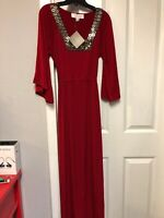 Badgley Mischka by American Glamour Red Maxi Dress Size S