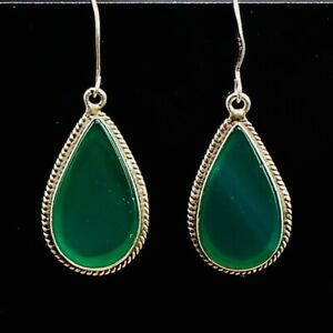 Vintage Chrysoprase Silver Drop Dangle Earrings (Large) Ref:749