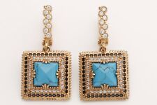 Turkish Jewelry Square Cut Turquoise Onyx Topaz 925 Sterling Silver Earrings
