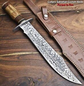 Handmade Damascus Steel Blade Bowie Hunting Knife   Camel Bone