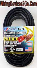 50' FEET 12/3 Gauge Black SJTW INDOOR OUTDOOR Extension Cord Lighted End OUTLET