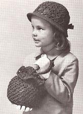 VINTAGE  CROCHET PATTERN Girl's Hat & Bag Easter S M L