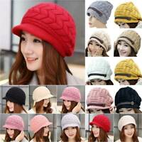 Women Plain Knitted Crochet Beanie Hat Warm Stretchy Soft Peaked Caps Outdoor