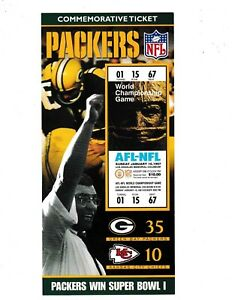 GREEN BAY PACKERS SUPER BOWL 1 COMMEMORATIVE TICKET LIMITED TO 10,000 MADE