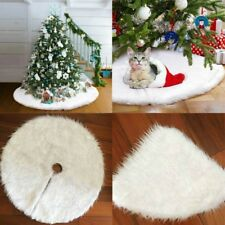 Luxury Faux Fur Christmas Tree Skirt 48 inch New Year White Decoration for Home