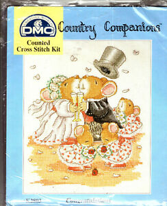 "DMC Country Companions Wedding Congratulations Counted Cross Stitch Kit 10"" x 8"""