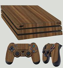 bois de noyer finition PS4 Pro Autocollant kit + 2 x pad vinyle non-textured
