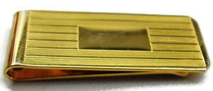 Vintage Money Clip Plain Lined Wallet Credit Card Cash ID Holder Gold Tone