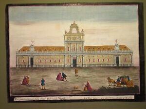 Incisione su rame colorata a mano d'epoca Napoli Palazzo degli Studi Primi '700