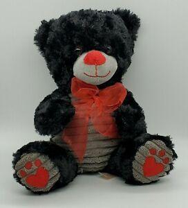 "Dan Dee Black Bear Plush w/Grey Belly & Paws Red Bow Nose Imprints NWOT HTF 9"""