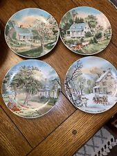 """New ListingCurrier & Ives Four Season Autumn Summer Spring & Winter Wall Plates 6.25"""""""