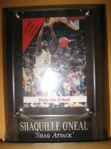 wood New SHAQUILLE O'NEAL PLAQUE sealed SHAQ ATTACK Holder w/plate for your card