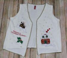 Holiday Christmas Cardigan Womens XL 2XL Cream Snowflakes Homespun Gingerbread