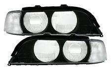 2 GLACE PHARE BMW SERIE 5 E39 1995-2000 FEUX AVANT AV AVEC CLIGNOTANTS BLANC
