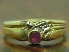 8kt 333 Yellow Gold Ring with Diamond & 0,12ct Spinel Decorations/1,7g/ Rg 54